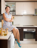 Housewife at domestic kitchen royalty free stock photos