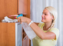 Housewife dusting furniture at home. Portrait of joyful smiling young blonde woman dusting furniture at home royalty free stock images