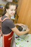 Housewife enjoys a mixer Royalty Free Stock Photos