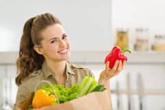 Housewife examines purchases after shopping Royalty Free Stock Photo
