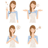 Housewife expression. Woman, expression of the various poses and faces of the housewife Stock Photo