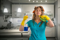 Housewife fed up of cleaning Stock Photos