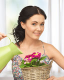 Housewife with flower in basket and watering can Royalty Free Stock Images