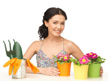 Housewife with flower in pot and gardening set Royalty Free Stock Image