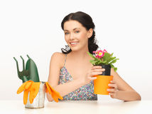 Housewife with flower in pot and gardening set Royalty Free Stock Photo