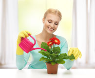 Housewife with flower in pot and watering can Royalty Free Stock Photos