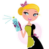 Housewife - french retro Maid with cleaning spray Stock Photo