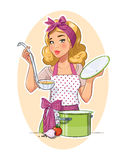 Housewife girl cooking food Royalty Free Stock Photo