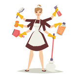 Housewife girl and home cleaning equipment icon in flat style vector illustration. Stock Photography