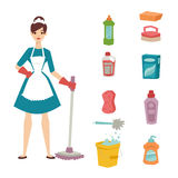 Housewife girl homemaker cleaning pretty girl wash cleanser chemical housework product equipment vector. Stock Images