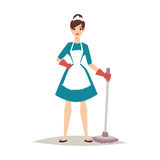 Housewife girl homemaker cleaning pretty girl wash cleanser chemical housework product equipment vector. Stock Photography