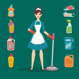 Housewife girl homemaker cleaning pretty girl wash cleanser chemical housework product equipment vector. Royalty Free Stock Photography