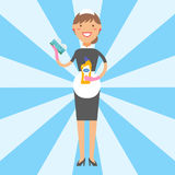 Housewife girl homemaker cleaning pretty girl wash cleanser chemical housework product equipment vector. Stock Photo