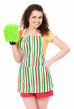 Housewife with green cleaning cloth Royalty Free Stock Images