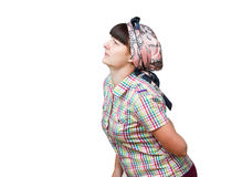 Housewife hand the patient back, waist. Pain in the lower back. Royalty Free Stock Photography