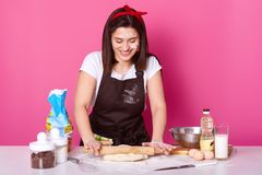 Housewife happily kneads dough with rolling pin. Young dark haired baker dressed in casual t shirt and apron, dirty with flour, royalty free stock photos