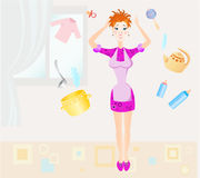 Housewife. And her everyday problems Royalty Free Stock Images