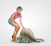 Housewife hiding money Royalty Free Stock Photos