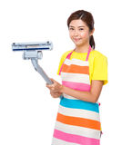 Housewife hold dust vacuum Royalty Free Stock Photography
