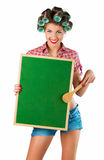Housewife holding a blackboard Stock Photo