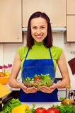 Housewife holding bowl of fresh vegetable salad Stock Photos