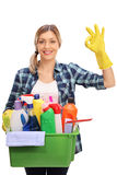 Housewife holding cleaning equipment Stock Photos