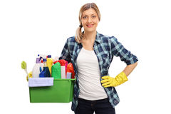 Housewife holding cleaning products Royalty Free Stock Image
