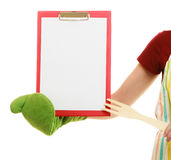 Housewife holding clipboard with copy space for text. Stock Image