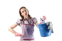 Housewife holding her bucket Stock Photo