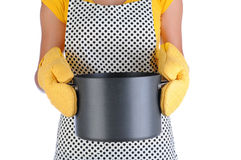 Housewife Holding Large Pot Royalty Free Stock Images