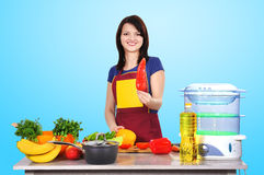 Housewife holding pepper Stock Images
