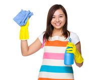 Housewife holding with rag and bottle spray Royalty Free Stock Photography