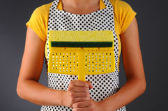 Housewife Holding Sponge Mop Stock Image