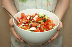 Housewife holds big white bowl with appetizing veg. Housewife in fabric apron holds big white china bowl with appetizing vegetable salad closeup royalty free stock images