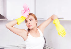 Housewife at home Royalty Free Stock Photo