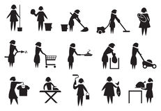 Housewife and Household Chores Icon Set Stock Image