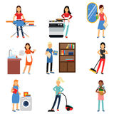 Housewife in housework activity set, homemaker cleaning and housekeeping  Illustrations Stock Photo