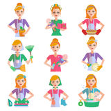 Housewife Icon Set Stock Photography