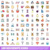 100 housewife icons set, cartoon style. 100 housewife icons set. Cartoon illustration of 100 housewife vector icons isolated on white background Royalty Free Stock Photography