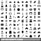 100 housewife icons set, simple style. 100 housewife icons set in simple style for any design vector illustration Stock Images