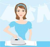 Housewife ironing. Clothes illustration stock illustration