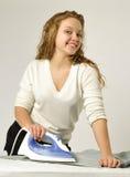 Housewife ironing Royalty Free Stock Image