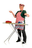 Housewife ironing Stock Photography