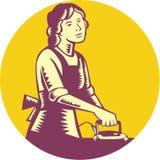 Housewife Ironing Circle Woodcut Stock Image