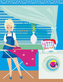 Housewife ironing clothes at home Stock Images