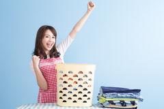 Housewife with ironing and shirt Royalty Free Stock Photos