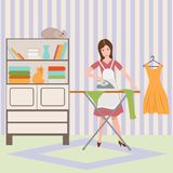 Housewife ironing shirt on ironing board. Flat vector illustration. Housewife ironing clothes in a living room. Flat vector illustration Stock Photo