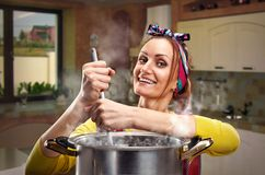 Housewife on the kitchen Stock Images