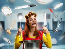 Housewife on the kitchen Royalty Free Stock Images