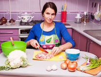Housewife in the kitchen royalty free stock photos